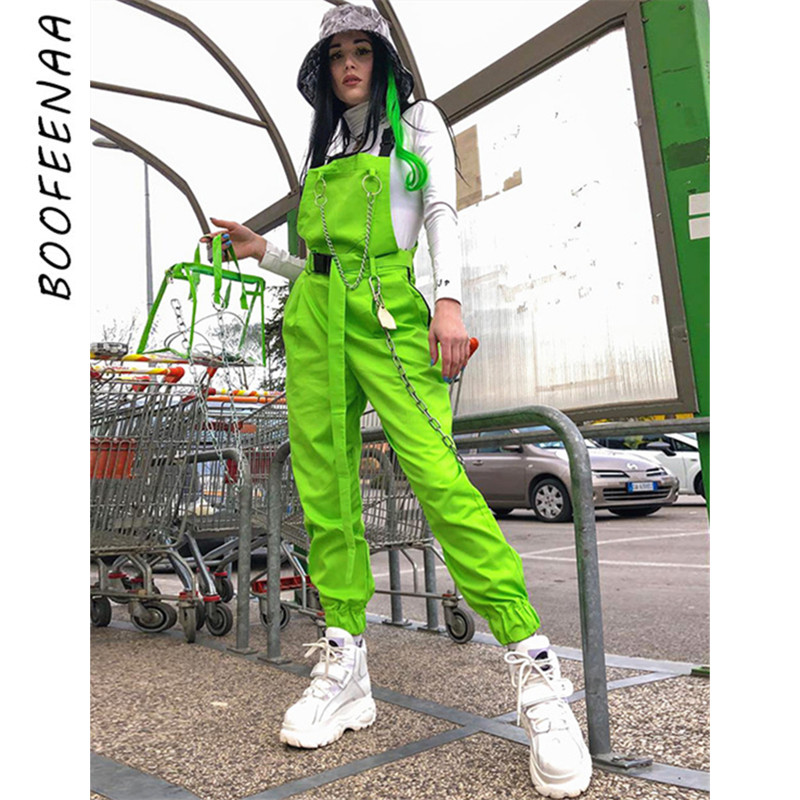 BOOFEENAA Chain Buckle Neon Green Overalls For Women Clothes 2019 Casual Jumpsuits Streetwear Fashion Summer Romper C94-AI86
