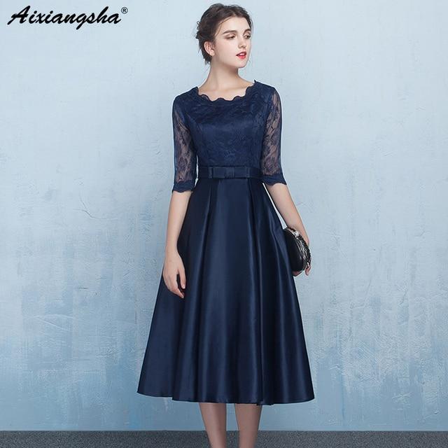 Navy Blue Plus Size Prom Dresses 2018 Tea Length Vestido Longo Abiti