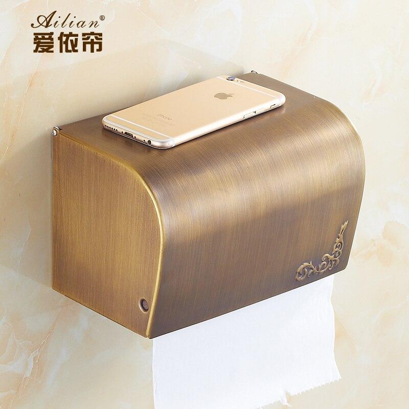 Porte-papier Antique cuivre boîte de papier toilette Wc porte-papier étanche couverture fermée accessoires de salle de bains porte-rouleau mural Sj42