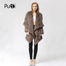 CR060-2 вязаный женский тканый мех из натурального кроличьего меха, вязаное пальто, длинное плотное зимнее пальто