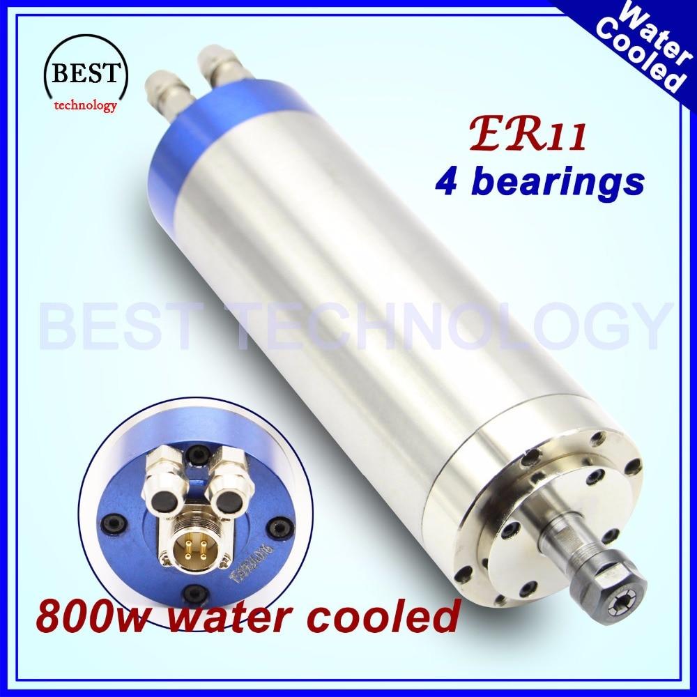 220 v 800 w refroidi à l'eau moteur de broche ER11 travail du bois broche 0.8kw 400 hz CNC fraiseuse d'eau de refroidissement 65x195mm 4 Roulements