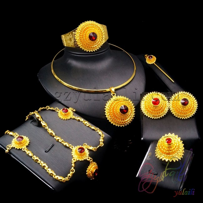 Women Jag Ethiopian Red Beads Sets For Ehead Hair Piece Hair Pin Clips Earrings Etc 24k