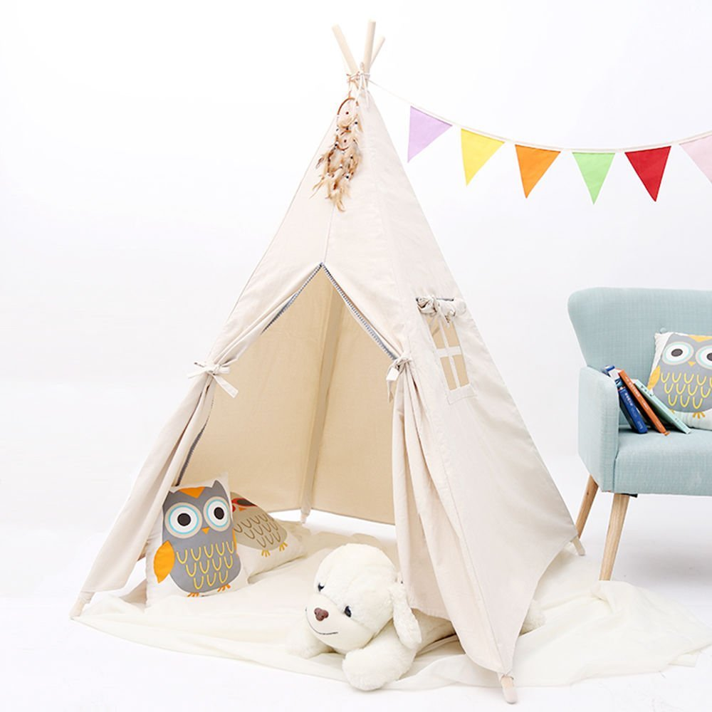 Square Natural Canvas PomPom Kids Teepee Tipi Tent Wigwam Play Tent for Kids tipi tent for kids childrens tipi wigwam tent page 8