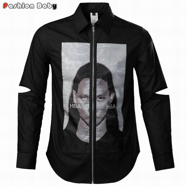 Men's hba Fashion Gauze Printed Zipper Cotton Long Sleeve Dress Casual Shirt Cool Party Shirts Black White Color