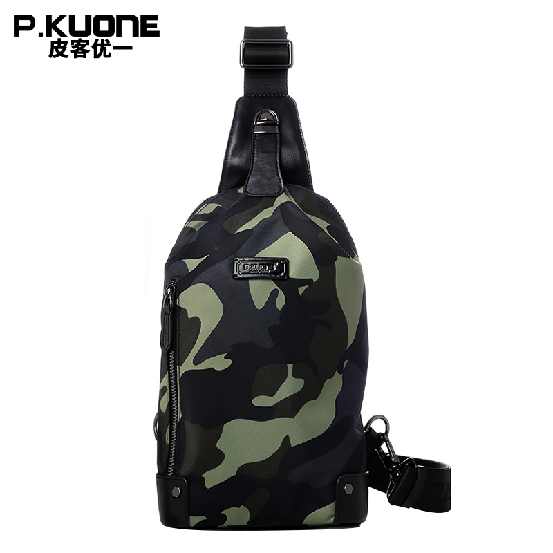 P.KUONE Mens Nylon Chest Pack Famous Luxury Brand Crossbody Bag Men Messenger Bag Fashion Shoulder Bag Travel Money Phone Bag