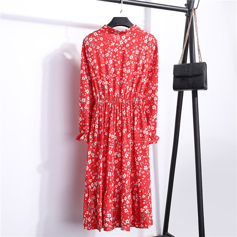Summer Korean Chiffon Women Dress Elegant Ladies Vintage Long Dress Boho Floral Office Long Sleeve Vestidos Clothing 5LYQ003 35
