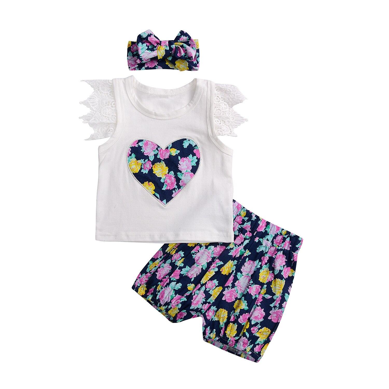 dd401927c6b baby κορίτσι θέτει παιδιά ρούχα καλοκαίρι κεντήματα καρδιά κορίτσια ...
