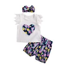 Baby Mädchen Sets Kinder Kleidung Sommer Stickerei Herz Mädchen Anzug Kinder Kleidung Baumwolle 3 Stück Sets für Mädchen