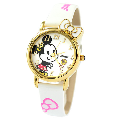 Children watches Disney brand girls Cartoon Minnie  Leather waterproof Child wristwatch bow kids clocks relogio