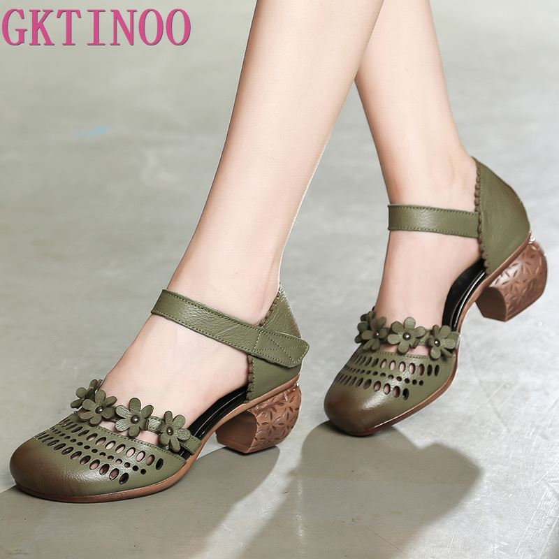 GKTINOO Genuine Leather Women Sandals Summer Shoes 5CM High Heels Retro Handmade Women Shoes 2019 Hollow
