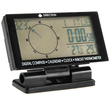 Digital Car Inside Outside Thermometer 5in1 Blue Backlight Car Compass With In Outdoor Temperature Meter Clock