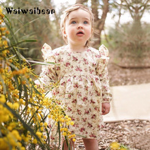 Baby Kids Girls Dresses Spring &Autumn Long- Sleeved  Princess Dress Fashion Print Floral Costume Kids Clothes For Girls baby girls cute floral printed mini dresses spring autumn long sleeve princess lovely dresses kids costume children clothes