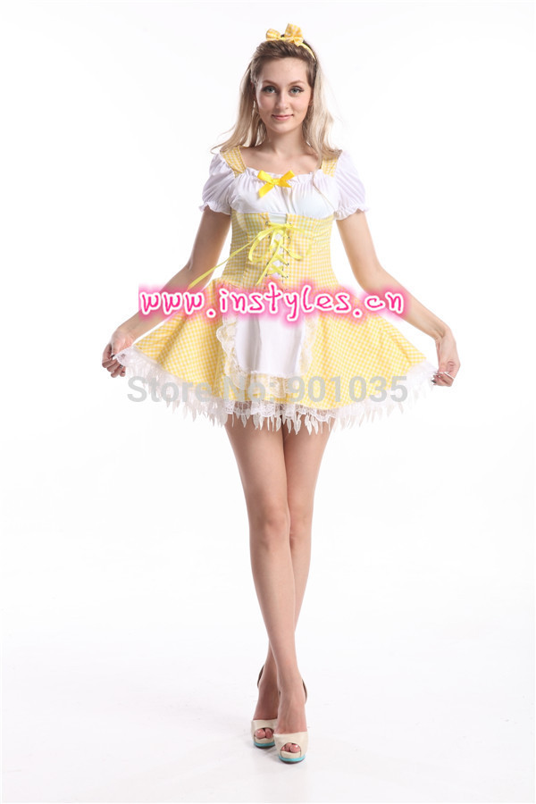 FREE SHIPPING S-2XL 84654 <font><b>sexy</b></font> costumes Japan yellow Ruffle <font><b>Lolita</b></font> Maid Outfit <font><b>Cosplay</b></font> Fancy Dress halloween Costume for women image