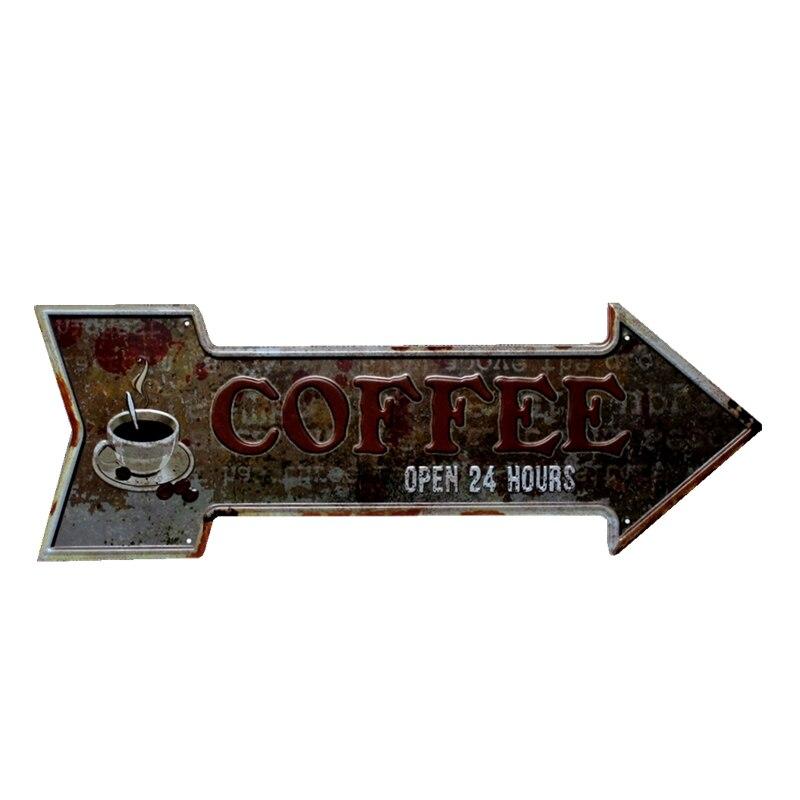 Arrow Coffee Tin Sign Metal Plate Vintage Bar Coffee Pub Cafe Decorative Advertising Board Wall Art Home Decor