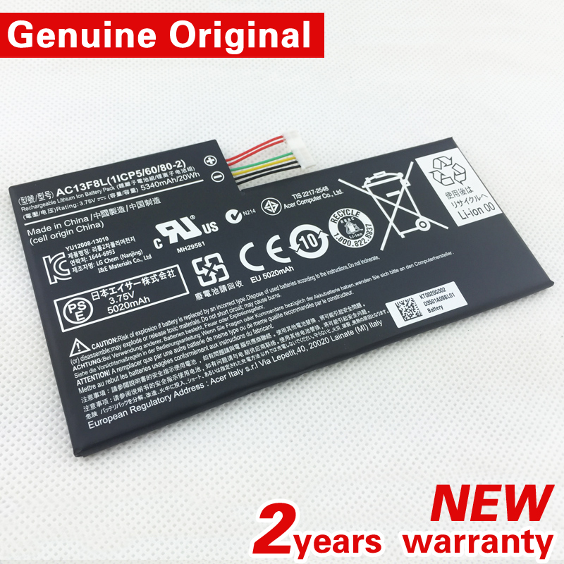 New original AC13F8L Battery 20WH 5340MAH FOR Acer iconia Tab A1 810 A1 811 W4 820