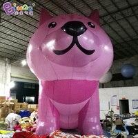 Бесплатная доставка 8X5X7 м гигантские надувные розовый собака для отображения прекрасный удар до рекламных собака украшения животных мульт