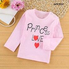 Детские хлопковые топы, футболка с длинными рукавами и принтом с буквами детская одежда для детей 2-5 лет, для маленьких девочек и мальчиков
