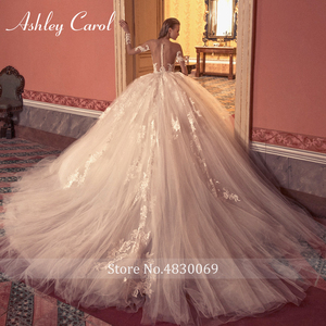 Image 2 - Ashley Carol Ball Gown Wedding Dress 2020 Long Sleeve Bridal Luxury Beaded Appliques Illusion Cathedral Princess Bride Dresses