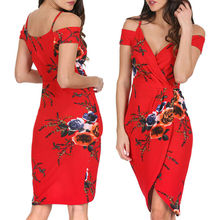 Women Floral Printing V Neck Off Shoulder Sleeveless Evening Party Dress New