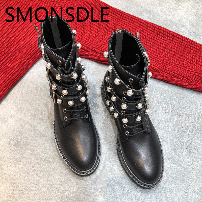 SMONSDLE New Black Genuine Leather Women Ankle Boots Round Toe Buckle Strap Pearls Women Autumn Winter Martin Boots Shoes Woman