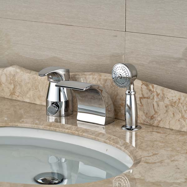 Wholesale And Retail Promotion Luxury Chrome Brass Roman Waterfall Bathroom Tub Faucet 3 PCS wholdsale and retail luxury brass