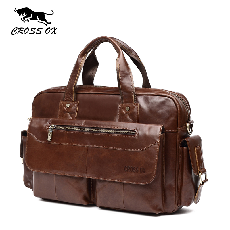 CROSS OX New Arrival Genuine Leather Handbag Men Shoulder Bag Cow Leather Male Messenger Bag For 14 Inch Laptop Computer HB565M new arrival purple men s canvas handbag with european design for male
