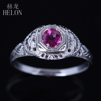 HELON Art Nouveau 925 Sterling Silver Antique Filigree Genuine Tourmaline Ring Vintage Style Engagement Wedding Ring