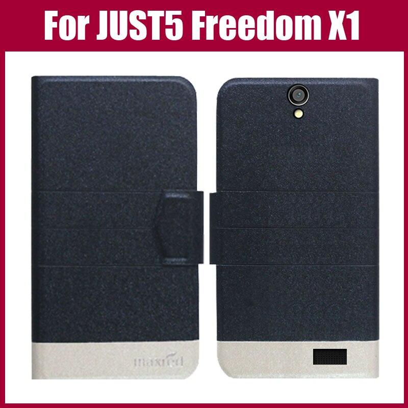 Žhavá sleva! Pouzdro JUST5 Freedom X1 Nový příchod 5 barev Módní Flip Ultra tenký kožený ochranný obal pro pouzdro JUST5 Freedom X1