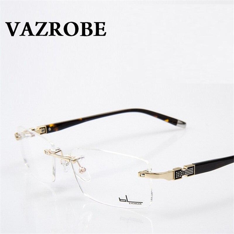 Vazrobe Rimless gold Glasses Men Eyeglasses Frames for Male optical Prescription Myopia diopter Lenses Eyeglass frameless man