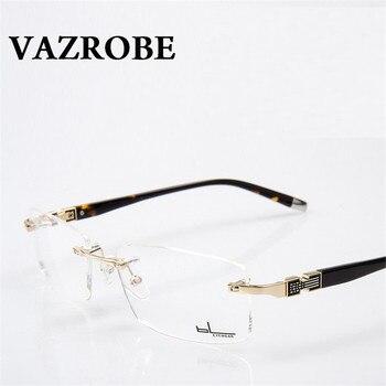 827a06331b6 US  16.03. Vazrobe Rimless gold Glasses Men Eyeglasses Frames for Male  optical Prescription Myopia diopter Lenses ...