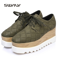 SWYIVY Wedge Shoes Sneakers Woman Spring Square Toe 2018 Thick Bottom Ladies Casual Shoes Wedge Heel