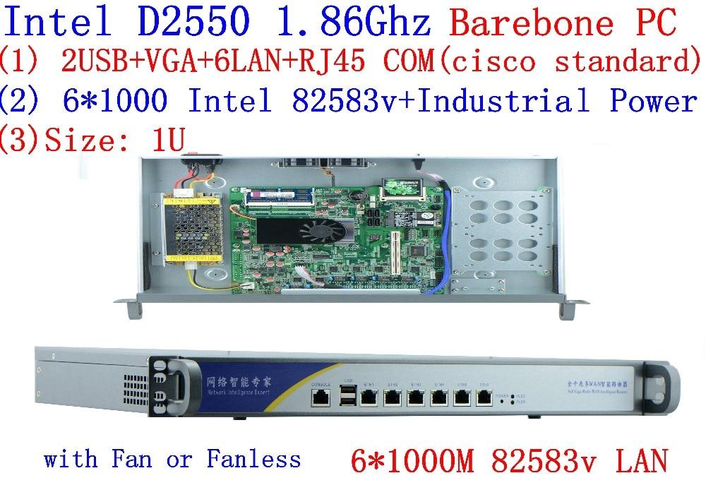 D2550 Network Firewall Router 6*82583V LAN Support ROS Mikrotik PFSense Panabit Wayos Monowall Radius Hi-spider Barebone PC