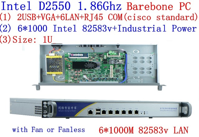 US $180 0 |D2550 Network Firewall Router 6*82583V LAN support ROS Mikrotik  PFSense Panabit Wayos Monowall Radius hi spider barebone PC-in Servers from