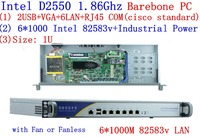D2550 Network Firewall Router 6*82583V LAN support ROS Mikrotik PFSense Panabit Wayos Monowall Radius hi spider barebone PC