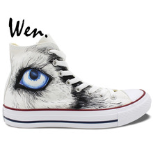 Wen Original Hand Painted Shoes Design Custom Snow Wolf High Top White Canvas Sneakers for Men Women's Gifts