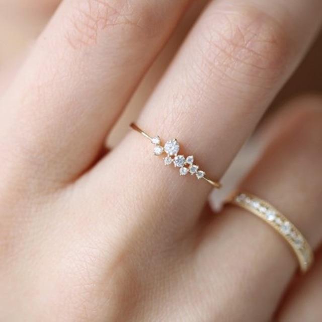 Rose Gold Crystal Ring For Women Silver Plated Finger Rings Women