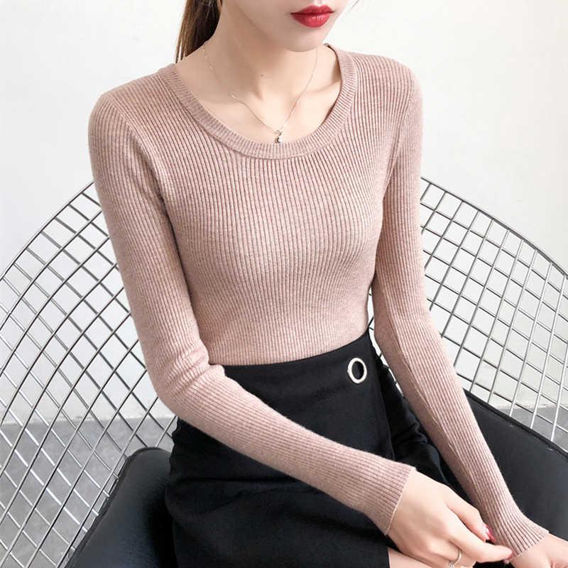 נשים סוודר סוודרים ארוך שרוול למשוך Femme סתיו חורף נשים למעלה חם Knittwear גבוהה אלסטי ג 'רזי Mujer
