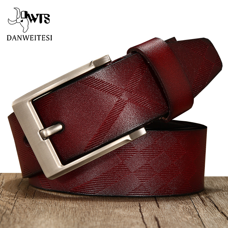 [DWTS]men Belt Genuine Leather Luxury  High Quality Brand Genuine Leather Belts For Men Cowhide  Fashion Pin Buckle Jeans Belt