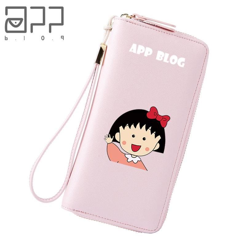 US $12 7 |APP BLOG Brand Cute Cartoon Sakura Momoko Long Wallet For Student  Teenager Girl Zipper Clutch Coin Purse Phone Keys Cards Bags-in Wallets