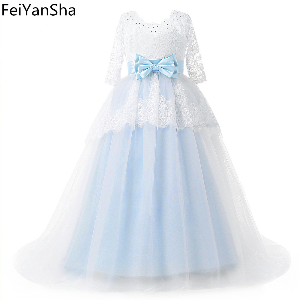 FeiYanSha Light Blue Flower Girl Dresses With Butterfly Short Sleeves Ball Gown O-Neck First Girls Communion Gown Girls Pageant lovely pink ball gown short flower girl dresses 2018 beaded pearls first communion dresses for girls pageant dress