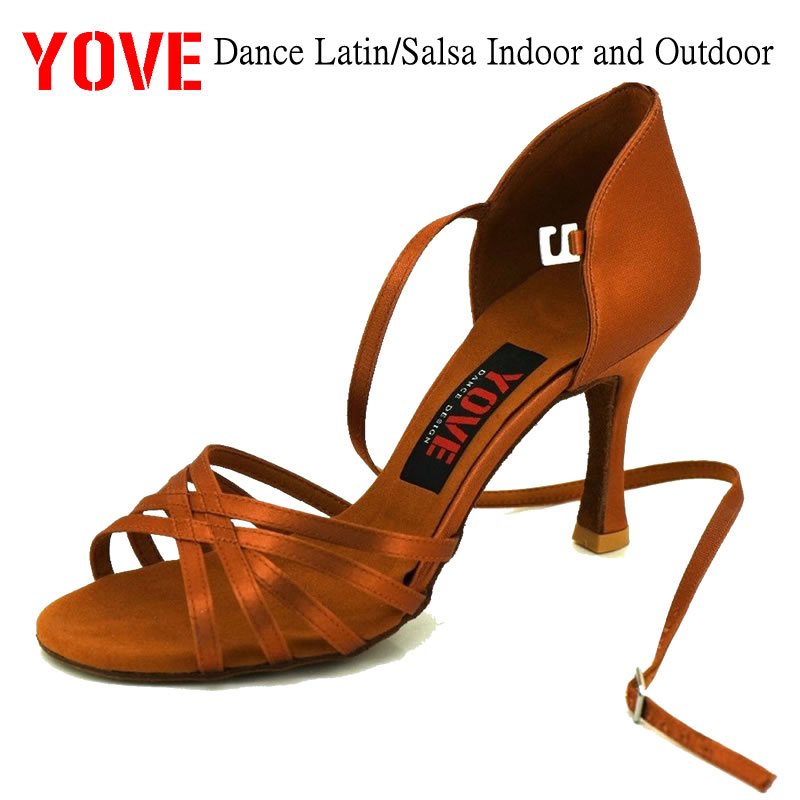 fee3206d5 أسلوب yove LA-08 المهنية اللاتينية الرقص حذاء الداخلي للمرأة 3 مضيئة كعب