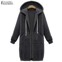 ZANZEA Women 2016 Autumn Winter Casual Long Hoodies Sweatshirt Coat Zip Up Outerwear Hooded Jacket Plus