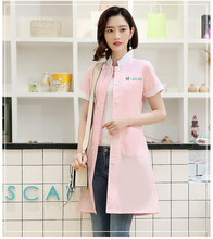 Womens Summer Stand Collar Short sleeve nurse uniform dental clinic doctors slim fit doctor white coat