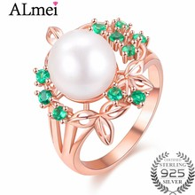 Almei 925 Sterling Silver Berkilauan Bouquet Cincin Besar Mutiara Air Tawar 925 Sterling Silver Ring Girl Fine Perhiasan dengan Kotak CJ023(China)