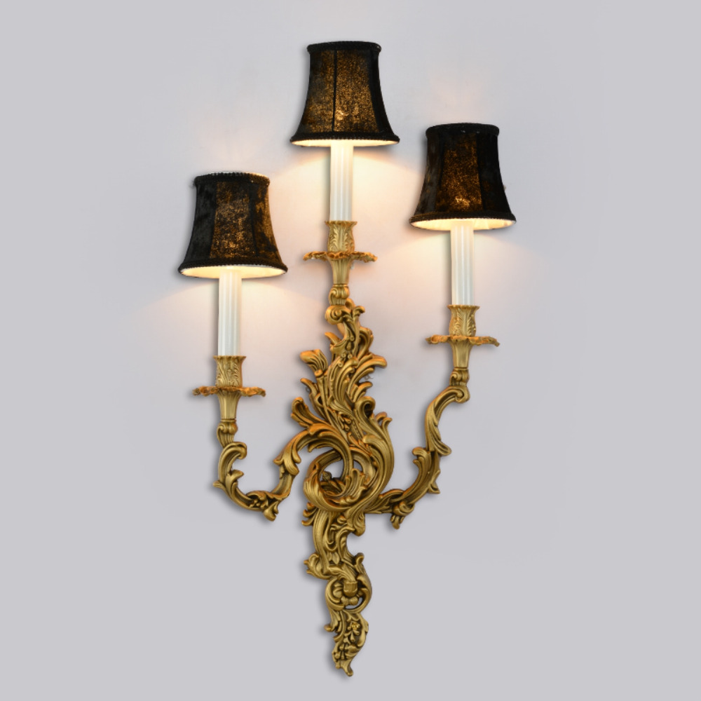 French copper candle wall lamp European retro luxury villa living ...