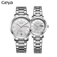 Классический Гея часы Черный и Белый Нержавеющей Стали Кварцевые Часы Марка Женщины Мужчины Часы любовника Случайные Часы Relogio Feminino