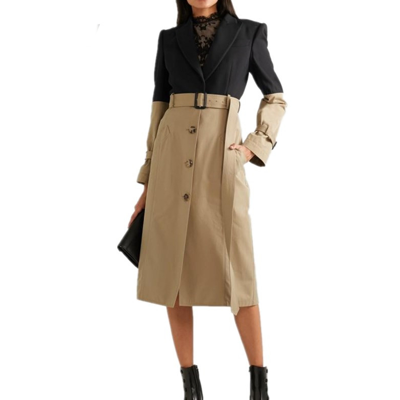 Spring   Trench   Coat Long Coat Women 2019 New Spliced Faux 2 Pieces Office Lady Dress Coat Runway Straight Single Breasted Blazer