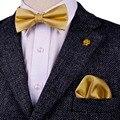 Frete Grátis Sólidos Verificado Ouro Amarelo Dos Homens Pré-amarrado Smoking Gravata borboleta Lenço 100% De Seda Ajustável Ocasional Por Atacado Do Casamento partido