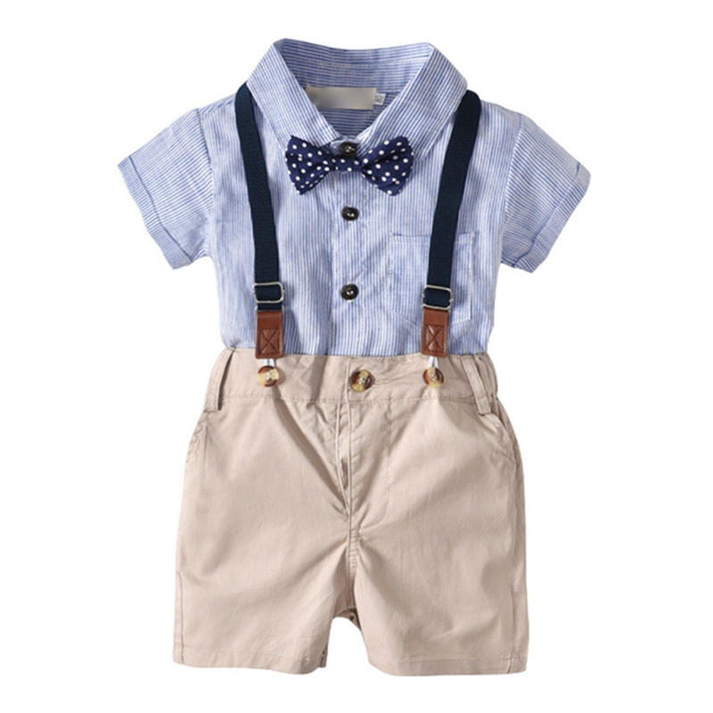 Open-Minded 3pcs Toddler Baby Boy Clothes Outfit Suit T-shirt Top+overall Bib Pants+bow Tie Boys' Baby Clothing