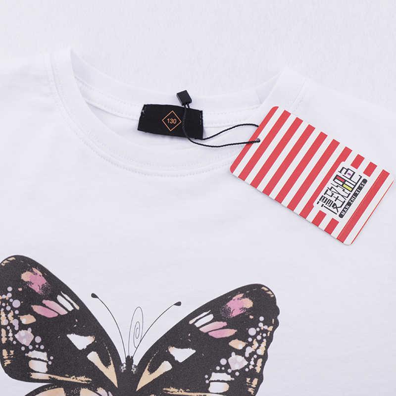 2019 nuevo producto niños ropa niños camiseta mariposa estampado completo 100% algodón Niño Camisetas largas Niña bebé Top camiseta